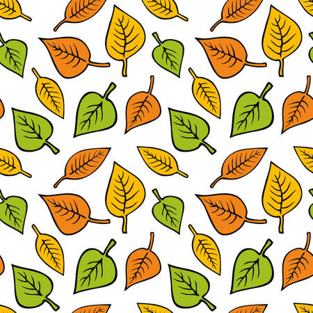 Vector seamless pattern with yellow, orange and green leaves. Hand drawn autumn leaves. Ilustrace