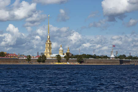 Peter and Paul Fortress in St. Petersburg, Russia, with Peter and Paul Cathedral. The citadel founded by Peter the Great in 1703 is a symbol of St.Petersburg