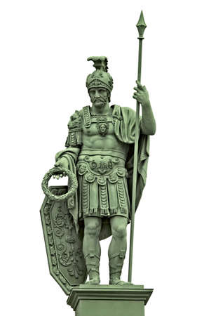 Statue of the Roman god of war Mars (Ares) with armor of ancient Roman warrior. Isolated on white Reklamní fotografie