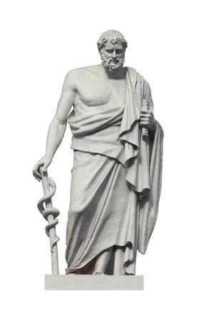 Pomnik wielkiego starożytnego greckiego lekarza Hipokratesa. Na białym tle