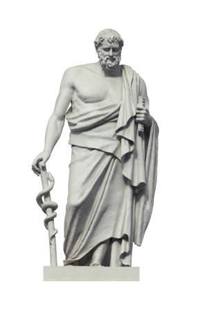 Statue of the great ancient greek phisician Hippocrates. Isolated on white Banque d'images - 95645713