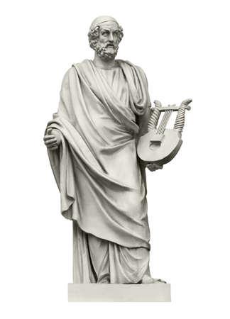 Statua dell'antico poeta greco Omero, autore dell'Iliade e dell'Odissea. Isolato su bianco