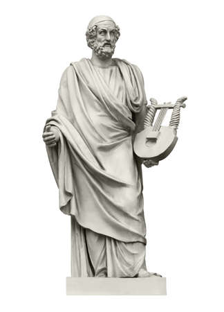 Statue of the ancient Greek  poet Homer, the author of the Iliad and the Odyssey. Isolated on white Stockfoto