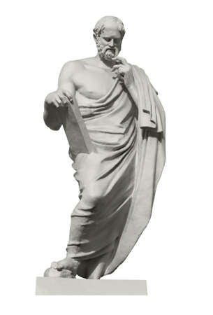Statue of Euclid, the great ancient Greek mathematician, the founder of geometry. Isolated on white