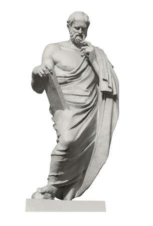 Statue von Euklid, dem großen antiken griechischen Mathematiker, dem Begründer der Geometrie. Isoliert auf weiss