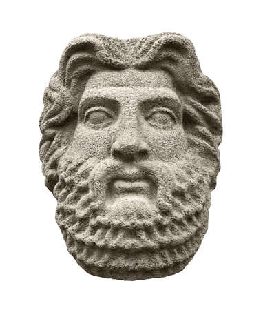 Sculptural head of god Zeus (Jupiter), the supreme deity in the ancient Greek and Roman religion. Isolated on white 写真素材