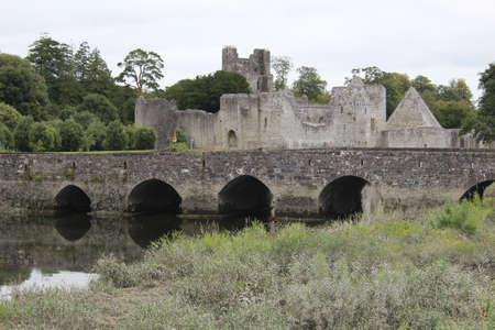 Augustinian Abbey Adare Limerick Ireland view with a bridge