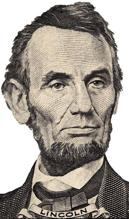 five dollar bill: President Lincolns Portrait from the Five Dollar Bill on a White Background
