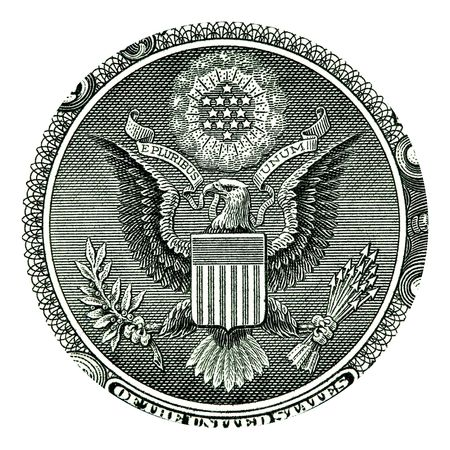 E Pluribus Unum Seal on the US One Dollar Bill  photo