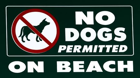 excluded: No dogs allowed on the beach Stock Photo