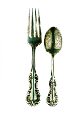 tarnished: Antique Silver Fork and Spoon