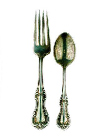 cubiertos de plata: Tenedor de plata antigua y cuchara
