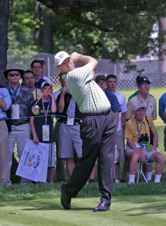 MAMARONECK, NY - JUNE 13: Popular South African, Ernie Els, tees off as he plays in the 2006 US Open on June 13, 2006 in Mamaroneck, NY.