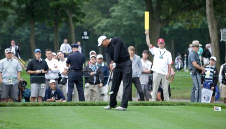 FARMINGDALE, , NY - JUNE 16: Tiger Woods tees off the 12th hole on the Black Course during the 2009 US Open on June 16, 2009 in Farmingdale, NY.