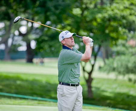 BETHESDA, MD - JUNE 14: Steve Stricker hits a shot at Congressional during the 2011 US Open on June 15, 2011 in Bethesda, MD.