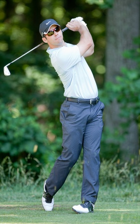 BETHESDA, MD - JUNE 15: Paul Casey hits a shot at Congressional during the 2011 US Open on June 15, 2011 in Bethesda, MD.