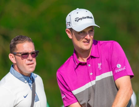 ARDMORE, PA  - June 12:  Justin Rose with his coach at the 2013 US Open at Merion  on June 12, 2013 in Ardmore, PA.