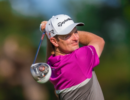 ARDMORE, PA  - June 12:  Justine Rose hits a drive at the 2013 US Open at Merion  on June 12, 2013 in Ardmore, PA.