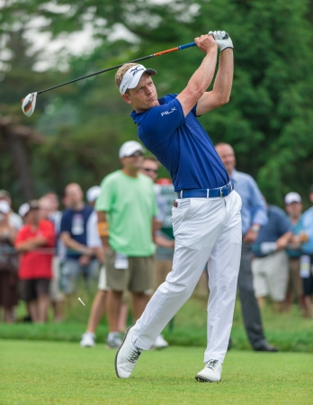 ARDMORE, PA  - June 11:  Luke Donald hits a drive at the 2013 US Open at Merion  on June 11, 2013 in Ardmore, PA Editorial