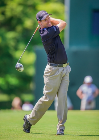 ARDMORE, PA  - June 12:  Padraig Harrington hits drive at the 2013 US Open at Merion on June 12, 2013 in Ardmore, PA.