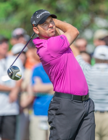 ARDMORE, PA  - June 12:  Sergio Garcia hits drive at the 2013 US Open at Merion on June 12, 2013 in Ardmore, PA.