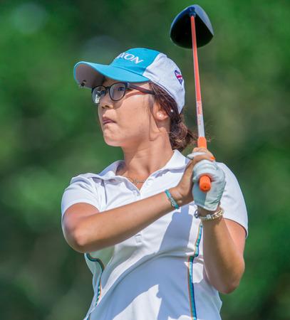 Lydia Ko hits a shot at the 2013 US Open