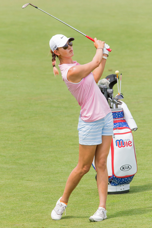 Michelle Wie hits a shot at the 2013 US Open