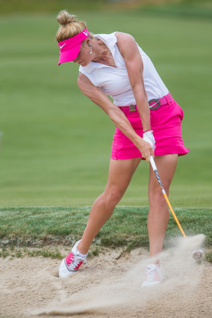 Carly Booth hits a shot at the 2013 US Open