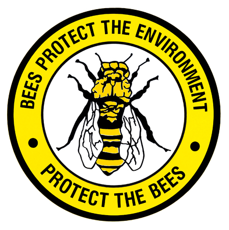 A bright environemntal sign with a large bee on it.