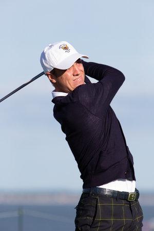 SOUTH HAMPTON, NY USA - September 6, 2013: PGA champion Justin Thomas hits a shot as he plays in the 2013 Walker cup.