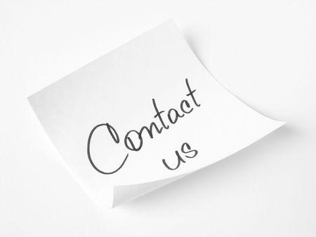contact us handwritten message on sticker Stock Photo - 6015378