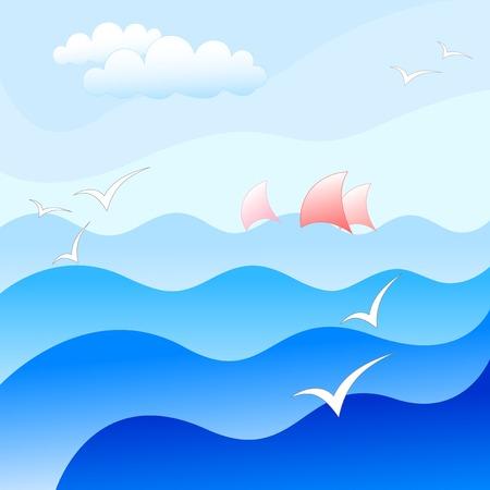 blauwe zee achtergrond Vector Illustratie