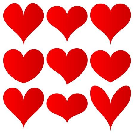 conjunto de corazones rojos