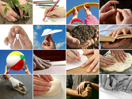 human hands in different situations collage