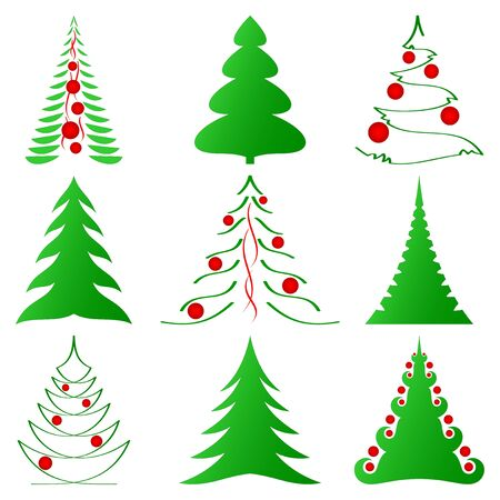 symbolic Christmas trees and decorated ones