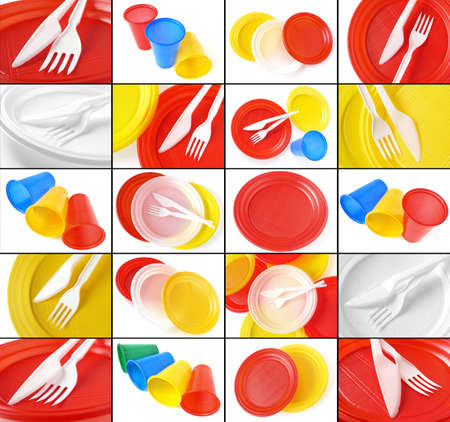 colorful disposable tableware collage