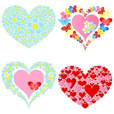 valentine symbolic hearts Illustration