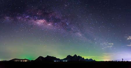 stargaze: a milky way above the Sam Roi Yod mountain  located in Kanchanaburi ,Thailand. Stock Photo