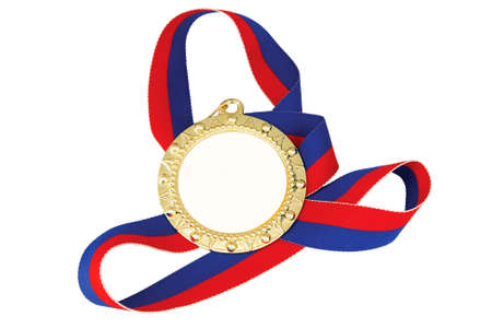A gold medal on a multi-colored ribbon photo