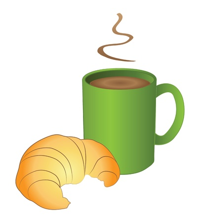 Hot coffe in green mug with croissant Stock Vector - 13571079