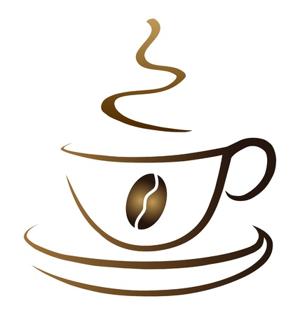 Symbolic cup of coffe with coffe seed