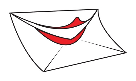 adress: White funny cartoon envelope letter with smiling red lips