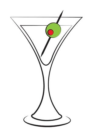 martini glass: Olive martini isolatedo on white background