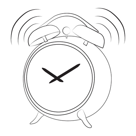 reloj despertador: Historieta divertida de alarma del reloj suena aislado en blanco Vectores