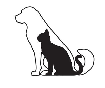 Silhouet van witte hond en de zwarte kat op wit wordt geïsoleerd