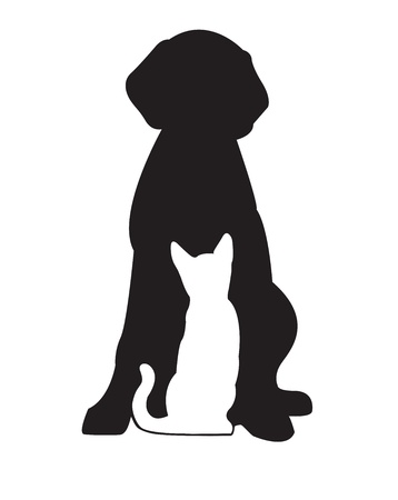 veterinary symbol: Silhouette of black dog and white cat isolated on white