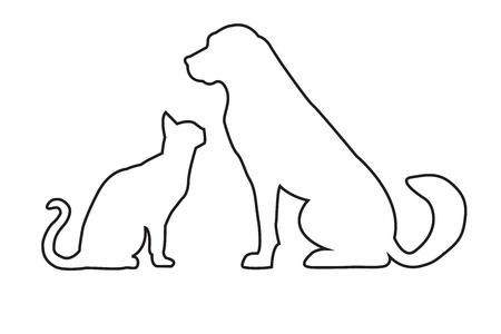 Silhouetten van de hond en de kat op wit wordt geïsoleerd