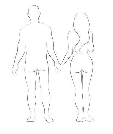 naked silhouette: Silhouettes of man and woman isolated on white Illustration