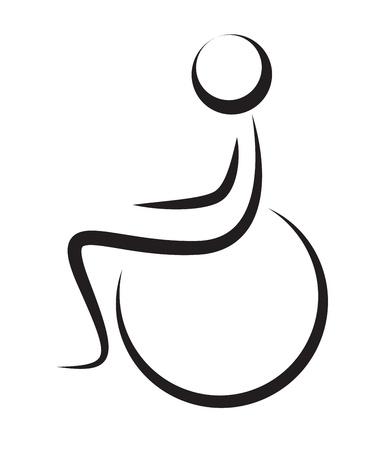 핸디캡: 흰색에 고립 된 휠체어 장애인의 실루엣