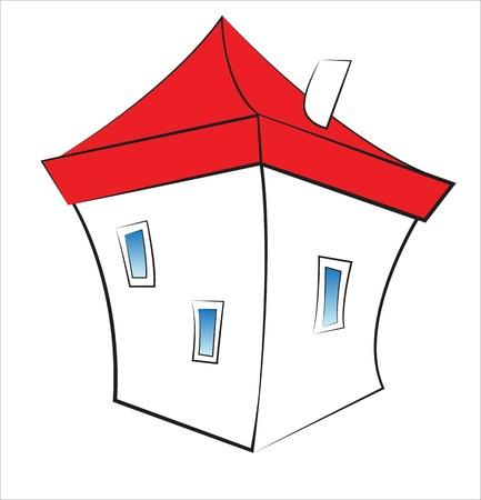 unit: Small funny cartoon white house with red roof isolated on white  Illustration